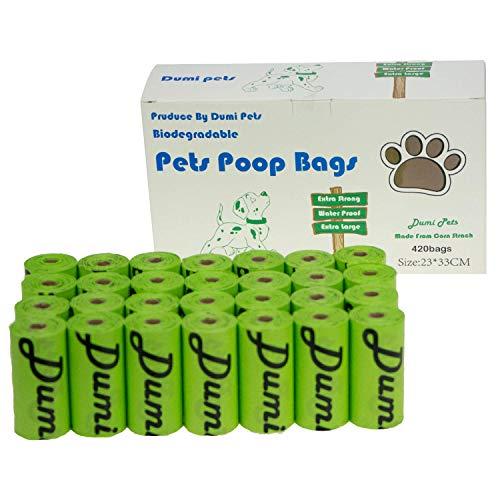Sacchetti per escrementi del cane, 420 pezzi, ecologici e biodegradabili, a prova di perdite, XL, spessi e forti