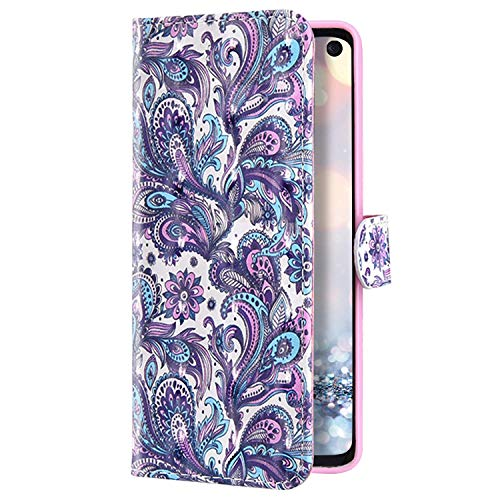 Uposao Kompatibel mit Samsung Galaxy S20 Plus Hülle Leder Handyhülle 3D Bling Glitzer Glänzend Klapphülle Schutzhülle Leder Hülle Flip Bookstyle Case Kartenfächer Magnet,Lila Mandala Blumen