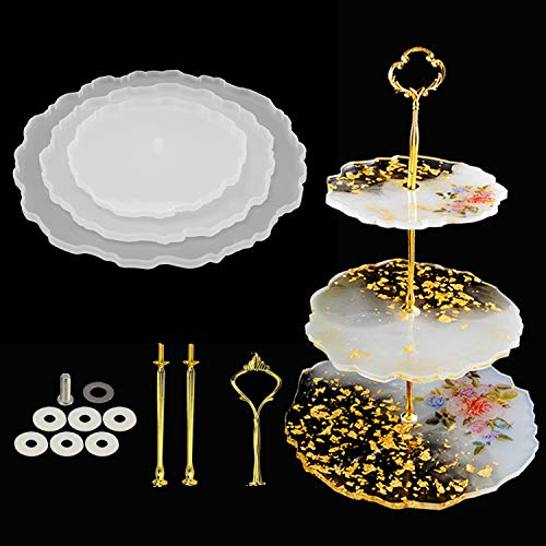 Silicone Molds for Resin EpoxyDessert Display Stand 3 Tier Cake and Cupcake Stand and Towers for Wedding Graduation Party Hardware Included