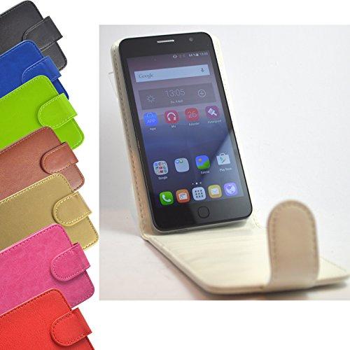 Flip 2 in 1 set Tasche für Phicomm Clue M Slide Kleber Hülle Case Cover Schutz Bumper Etui Handyhülle in Weiß