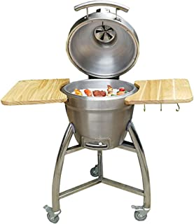 Vertical 17 Inch Steel Charcoal Smoker, Portable Smokeless Barbecue Grill, Heavy Duty Round BBQ Grill for Outdoor Cooking