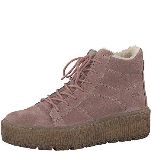 Tamaris Damskie buty sznurowane 26096-21, damskie kozaki, półkozaki, sznurowane, botki, płaskie, obcas blokowy 4 cm, różowy - Powder - 39 eu