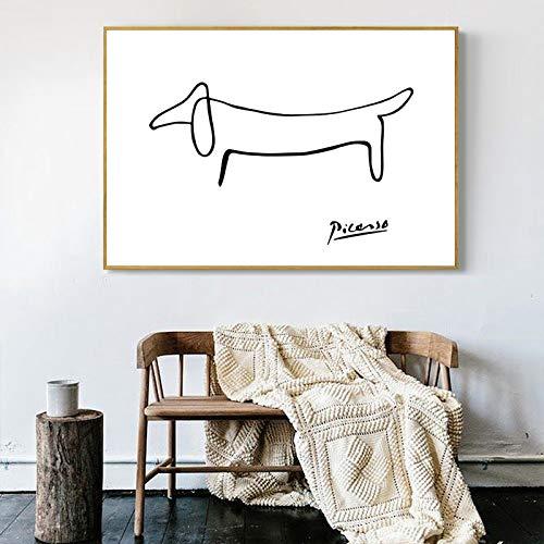 Picasso Abstrakte Bild One Stroke Nordic Poster Wand Bilder Leinwand Hund Poster Schwarz-Weiß-Wandbilder Wohnzimmer Dekor Rahmenlos 50x70cm
