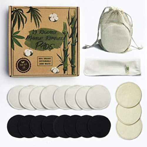 Tamponi riutilizzabili per il trucco, 19 tamponi in cotone biologico di bambù e canapa con sacchetto per il bucato, panno per il viso, lavabili ed ecologici, senza plastica, zero sprechi