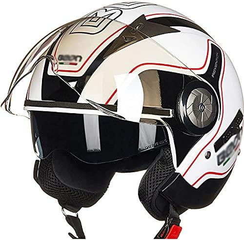 Egrus Jet Pilot Helm Motorrad Open Face Helm ECE Genehmigte Retro 3/4 Helm Halbhelm Für Racing Motocross Vespa Moped Cruiser A L (Color : A, Size : 59-61cm)