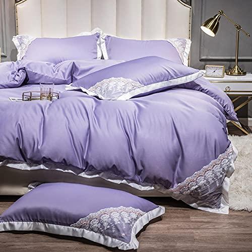 funda de edredón juego máquina,Ropa de cama de verano es un juego de seda de hielo de cuatro piezas de cuatro piezas de lavado de agua de doble cara, ropa de cama de seda-Di_1,5 m de cama - adecuado