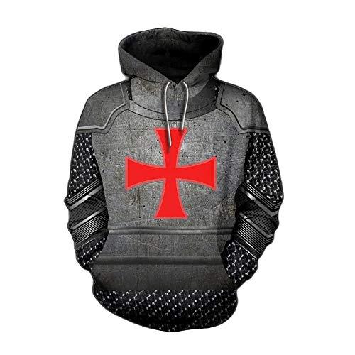Caballeros Templarios Sudaderas con Capucha para Hombre Armadura Medieval Sudadera Cruzado Caballero...