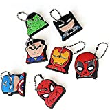 Finduat 7 Pcs Super Hero Key Cover Cap superhero keychains Creative Silicone Cartoon Captain Anime Key Holder for Kid Toy Ornament Souvenirs Gift
