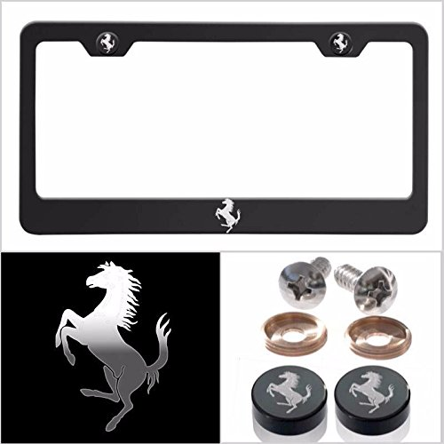 UFRAME Fit Ferrari Laser Engraved Logo License Plate Frame Made of Industrial Grade Powder Coated Black Matte Black Stainless Steel w/Caps and Accessories