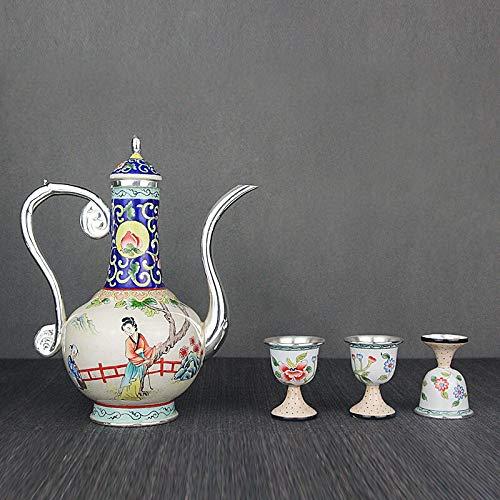 no-branded Pintura de Alta Gama Esmalte Sterling Silver Tea Juego de Plata esterlina Jugada Hecho A Hecho A Mano Antiguo Tetera de Plata ZZYYUS