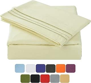 TASTELIFE 105 GSM Deep Pocket Bed Sheet Set Brushed Hypoallergenic Microfiber 1800 Bedding Sheets Wrinkle, Fade, Stain Resistant - 4 Piece(Ivory,King)