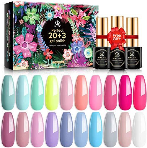 MEFA Gel Nagellack Set 20 Farben, Pink Nude Gel Lack Set mit ohne Wipe Base und Matt-Glänzende Top Coat für Nail Art Salon Design Maniküre Set mit schöne Box