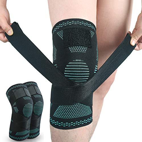 SIJIHUA Kniebandage, offene Kniescheibe, für Arthritis, Gelenkschmerzen, Meniskusschmerzen, Erholung, Fitnessstudio, Sport, Basketball, Laufen, Skifahren, verstellbare Kompression, L-Grün