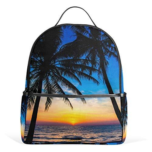 ZZKKO Tropical Beach Sunset Palm Tree Sac à dos pour ordinateur livre voyage randonnée camping