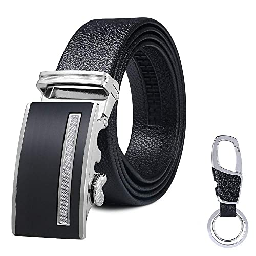 flintronic ® Cinturón Cuero Hombre, Cinturones Piel con Hebilla Automática,Cinturón de Negocios 3.5cm * 130cm, con Portachiavi y Confezione Regalo