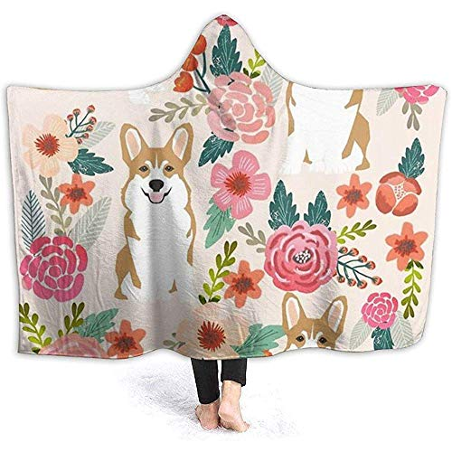 Henry Anthony Corgi Floral Flowers Hoodie Decke Coral Plush Ultra Soft Plüsch Freizeit Wear Hooded Throw Wrap