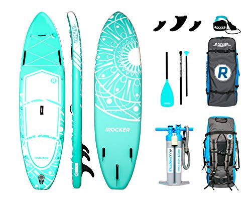 iROCKER All-Around Inflatable Stand Up Paddle Board 10' Long 32' Wide 6' Thick SUP Package | Seafoam Green - 2019