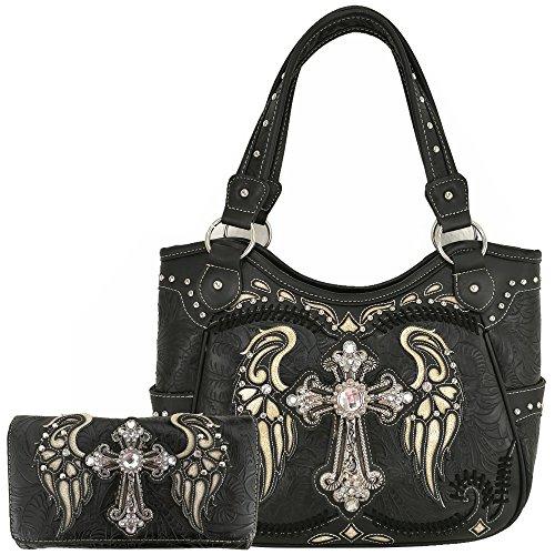 Western Rhinestone Cross Laser Cut Wings Tote Concealed Carry Purse Handbag Women Shoulder Bag Wallet Set (Black Set)
