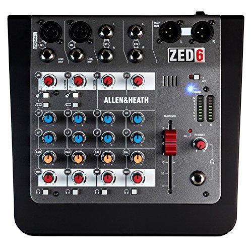 Allen & Heath TED-6 Analoge mixer (compact, draagbaar formaat, flexibele signaalbewaking, buitengewoon lage ruis, lo-Cut-filter, 48 V fantoomvoeding)