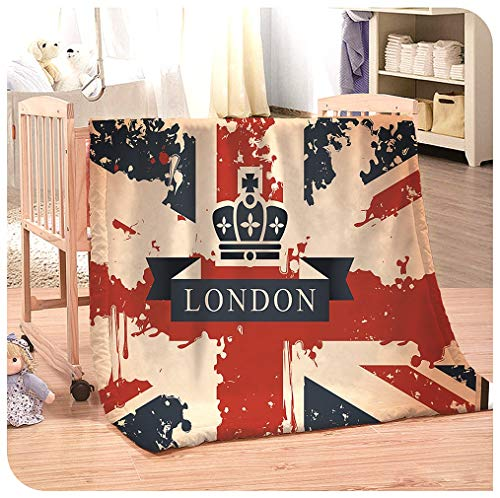 Ultra Soft Flannel Throw Blanket for Winter, Union Jack Flannel Blanket for Kids and Adult Super Soft Warm Sherpa Fleece Blankets Vintage Travel Suitcase With British Flag Couch Blankets For Living Ro