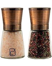 Set Molinillo de Sal y Pimienta - Mejor Acero Inoxidable Cobrizo para Cocineros, Tapas Magnéticas Prácticas, Molinillos de Especias Cerámica Lisa con Tosquedad Ajustable