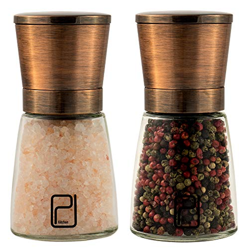 Premium Salt and Pepper Grinder Set - Best Copper Stainless Steel Mill for Home Chef, Magnetic Lids,...