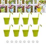 AIFFERA - Maceta de metal para colgar, 8 unidades, para barandilla, valla, balcón, jardín, decoración del hogar, soportes de flores con ganchos desmontables, color verde, 15,2 cm