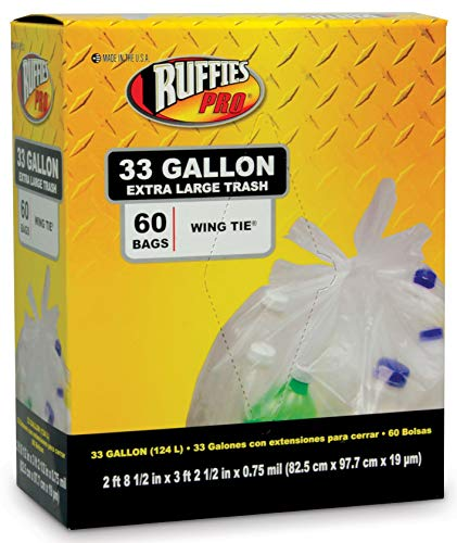 BERRY PLASTICS CORP Ruffies 60-Count 33-Gallon Clear Large Trash Recycling Bags by BERRY PLASTICS CORP