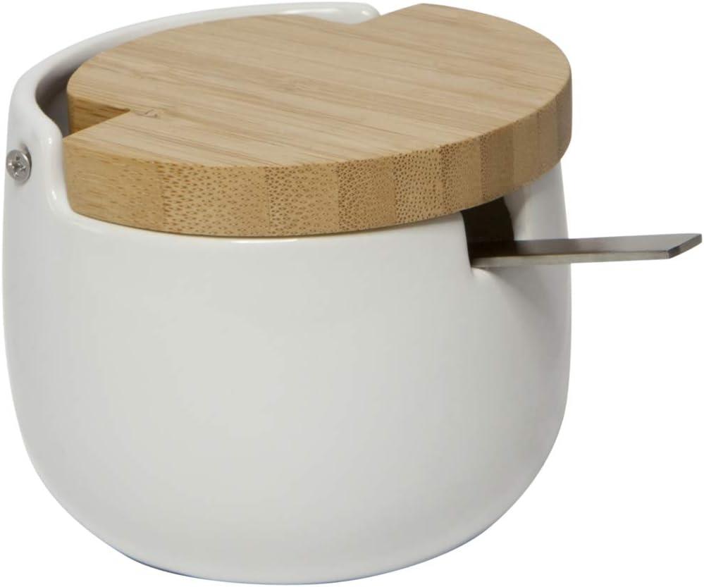 KOOK TIME Azucarero Original de cerámica - con Tapa de Madera de bambú basculante y cucharilla de Acero Inoxidable - Uso Ideal como azucarero y salero - 12.5 x 9.5 x 8 cm, Color Blanco