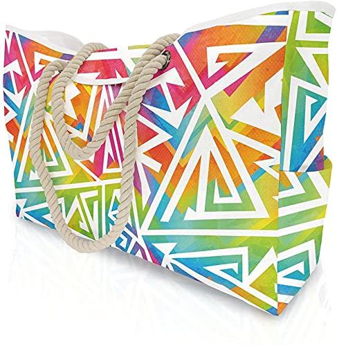 MRZJ Bolsa de playa extragrande para mujer con bolsillo interior, bolsa de hombro