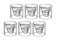 6 bicchierini da liquore con disegno di teschio, da shot, per vodka o liquori, in vetro, 6 schnapsgläser 25 ml