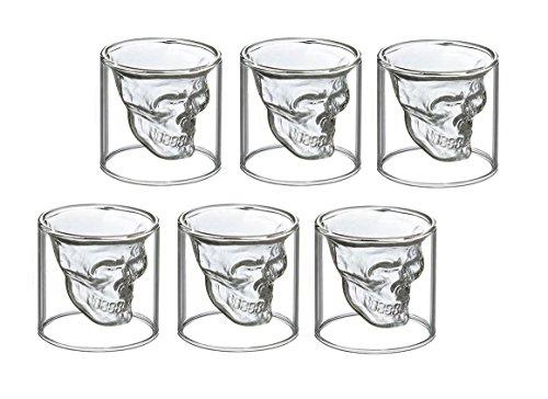6 vasos de chupito de calavera para vodka, 6 Schnapsgläser 25 ml