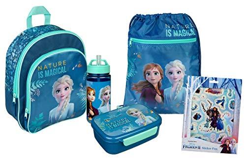 Frozen Rucksack Set Mädchen I Kindergartenrucksack Set 5-TLG. Anna und ELSA mit Rucksack, Turnbeutel, Brotdose, Trinkflasche, Sticker Set, blau