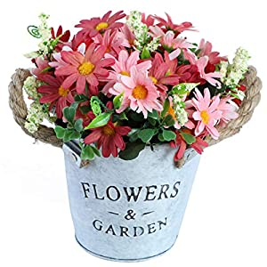 A Cup of Tea Artificial Chrysanthemum Flowers Silk Pink Fake Plants in Iron Pot for Tabletop Centerpiece, Decorative Simulation Flowers for Window Sill Indoor Living Room Bedroom Kitchen