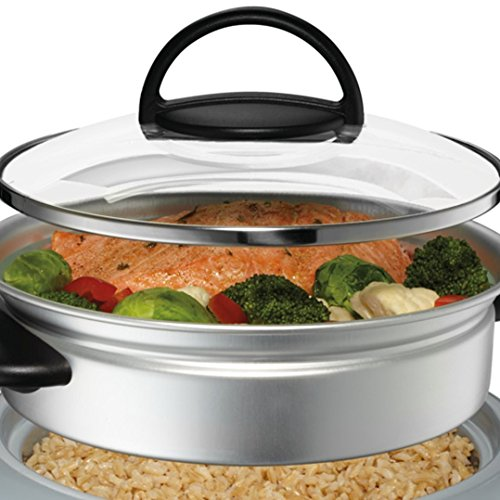 Product Image 1: Oster Titanium Infused DuraCeramic 6-Cup Rice & Grain Cooker with Steam Tray, Silver/Black (CKSTRC61K-TECO)