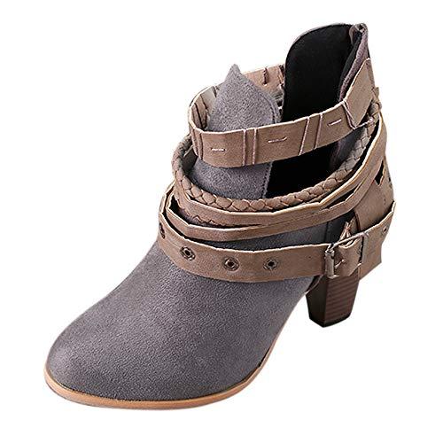 ZODOF Moda Mujer Invierno Botines Chelsea Tacón Alto Tobillo Botas Señoras Plataforma Zapatos Altos Talones Otoño Zapatos Fiesta Boda Sexy Rivet Hebilla Romano Botas Botines 34-42