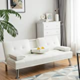 Giantex Modern Convertible Futon Sofa Bed, Faux Leather Upholstered Futon Sofa Sleeper w/Metal Leg, Removable Armrests, 2 Cup Holders, Backrest Adjustable, Folding Futon Sofa Bed for Apartment (White)