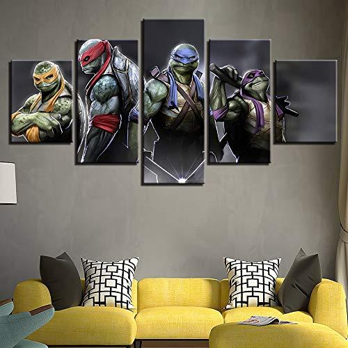 Leinwand Bild Wandkunst Wohnzimmer 5 Stück Teenager Mutant Ninja Turtle Malerei Modulare Wohnkultur Mode Modulare Bild Leinwand Malerei Leinwand Malerei Rahmenlose