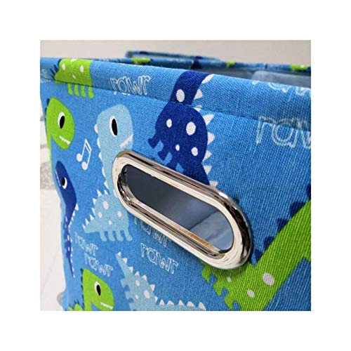 XIHEJD Baby Toys Clothing Storage Nursery Organizer Bag Foldable Large Collapsible Storage Basket Canvas Fabric Baby Laundry Hamper Cute Dinosaur Storage Bin for Nursery, Books, Toys Organizer - L