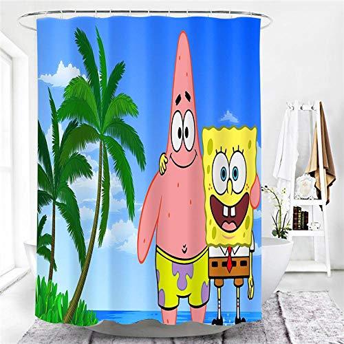 MALECUPWH Antischimmel Wasserdicht Bath Curtain 220X200 cm Polyester Stoff Duschvorhang Schwer Spongebob-Cartoon Mit Duschvorhang Ring