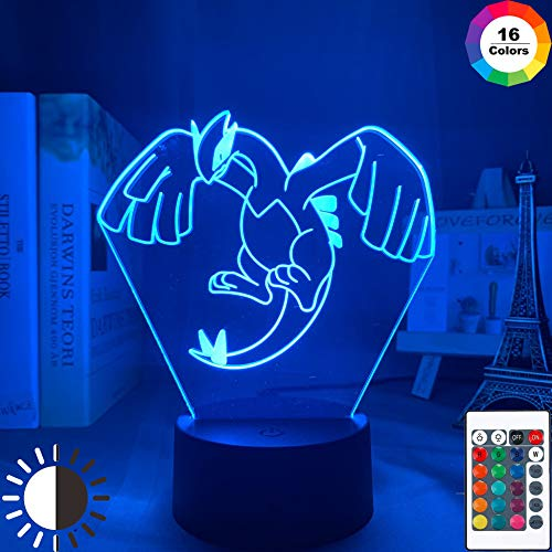 KangYD 3D-Nachtlampenspiel Pokemon Lugia, LED Optical Illusion Light, A - Black Base Berühren (7 Farbe), Raumbeleuchtung, Modernes Dekor, Kinderlampe, Weihnachtsgeschenk