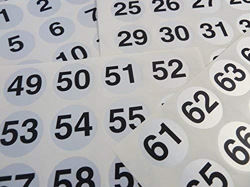 silber 40mm rund aufeinanderfolgende, sequenziell Nummer Sequenz Etiketten, Zahlen Aufkleber, aus 1-72