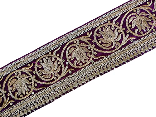 Embroidered Trim - 2 Yards Indian Saree Border - Purple Embellishment Lace - for Sewing and Craft - by Craftbot