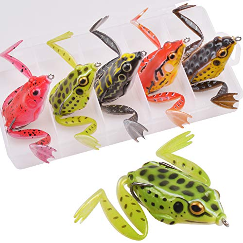 Topwater Frog Lures Bass Fishing Kit - 5pcs Weedless Hollow Frog Fishing Lures with Double Sharp Hooks Freshwater Jump Frog Baits with Tackle Box for Freshwater Saltwater