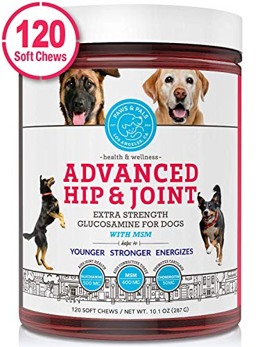 Paws & Pals Glucosamine Supplement for Dogs: Hip & Joint Health Supplements with Chondroitin & MSM for Pain Relief & Senior Dog/Cat Arthritis Support - Chewable Pet Multi Vitamin - 120 Soft Chews