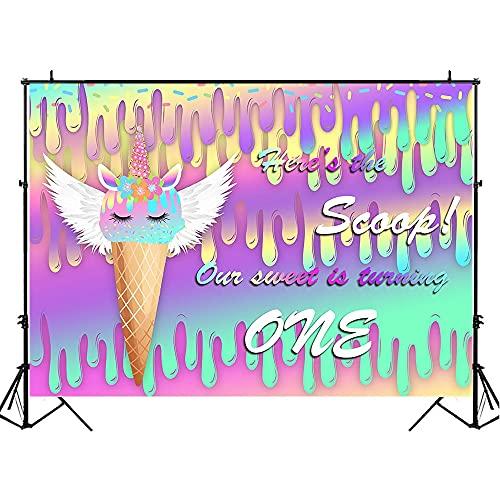 Ijs eenhoorn baby 1e verjaardag fotografie achtergrond verjaardagsfeestje decoratie foto achtergrond rekwisieten A1 7x5ft/2.1x1.5m