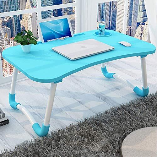 Inicio portátil cama plegable portátil soporte marco dormitorio sala de estar pequeño escritorio estudiante mesa 6040 azul