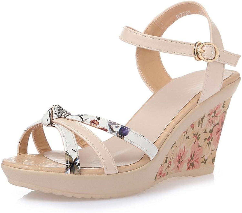 L@YC Women Summer Sandals Sandals Leather Thick Casual Comfort High Heel Waterproof Platform