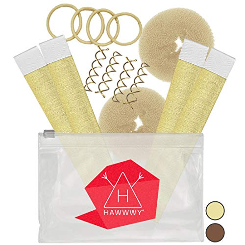 Hawwwy 12-piece Hair Bun Maker, Easy & Fast Small Bun Tool Best Sellers Kit Short or Thin Hair Women Girls Kids Toddler Perfect Ballet Sock Accessory Blonde (2 Donuts +2 Magic Snap Roll +4 Spin Pins)