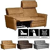 Cavadore 3-Sitzer Sofa Chalsay inkl. verstellbarem Kopfteil und Relaxfunktion / mit Federkern / 3er Kino-Couch für Heimkino im modernen Design / Größe: 179 x 94 x 92 cm (BxHxT) / Farbe:...